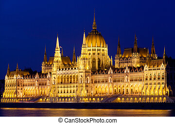 Parliament of Budapest at night, Hungary