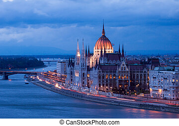 Budapest. Hungarian parliament in Budapest during twilight blue hour.