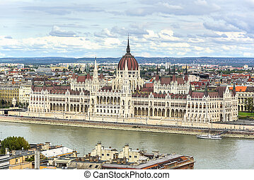 Parliament of Hungary in Budapest. Top view.