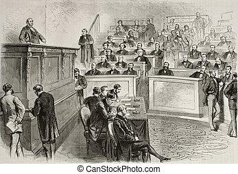 Parliament session - Old illustration of Eugene Rouher...