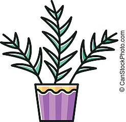 Parlor palm RGB color icon. Chamaedorea elegans. Neanthe bella palm. Majesty palm. Indoor tropical plant. Leafy decorative houseplant. Natural home, office decor. Isolated vector illustration