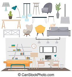 Vector flat illustration parlour interior set abstract isolated rooms apartment, house parlour interior. Home parlour interior design. Parlour interior salon and parlour interior modern decoration.