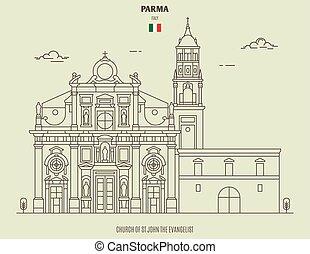parma, 教会, italy., ランドマーク, ジョン, アイコン, 伝道師, st.