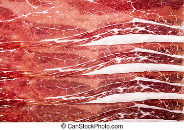 A background of parma ham slices