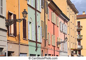 Parma, Italy - Emilia-Romagna region. Colorful Mediterranean architecture.