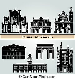 Parma landmarks and monuments isolated on blue background in editable vector file
