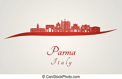 Parma skyline in red and gray background in editable vector file