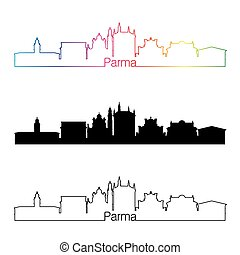 Parma skyline linear style with rainbow in editable vector file