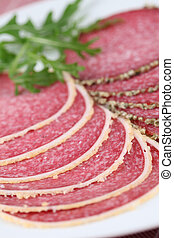 Parmesan and pepper crust salami - Salami with parmesan and...