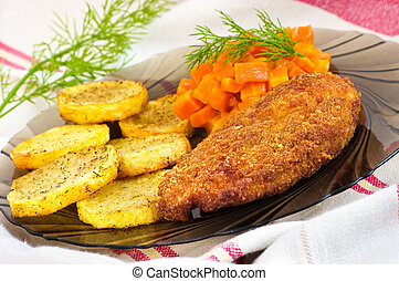 Parmesan breaded chicken breast with carrot and potato...