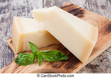 parmesan cheese on wooden background