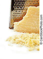 Parmesan Cheese - Parmesan cheese freshly grated on a white...