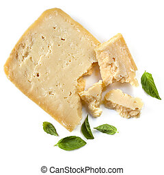 Parmesan Cheese with Basil Leaves Isolated