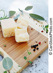 Parmesan cheese with herbs