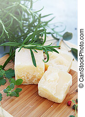 Parmesan cheese with rosemary