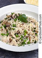 parmesan pollo, pisello, fungo, risotto