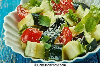 parmesan, salada, abobrinha
