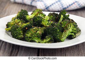 parmesano, ajo, lado, bróculi