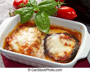 parmigiana, beringela, com, fresco, ingr