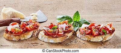 parmigiana, italiano, queso, bruschetta