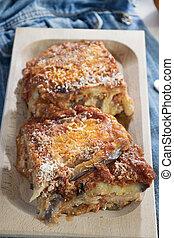 parmigiana of eggplants and mozzarella