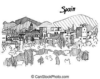 parník, hora, skica, španělsko, vektor, věž