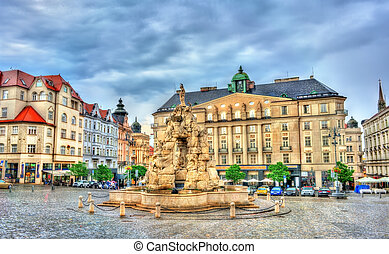Parnas Fountain on Zerny trh square in the old town of Brno...