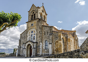 Parochial church of San Vicente Martir and San Sebastian. It has a strange mix of styles in which stands the Baroque is located in the town of Frias, Burgos.