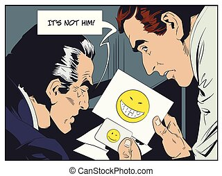 parody., illustration., 警官, 男性, 比較しなさい, fingerprints., 株, 点検, emoticons.