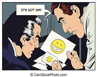 parody., illustration., policial, homens, comparar, fingerprints., estoque, cheque, emoticons.