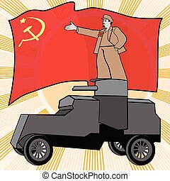 parody of the traditional Soviet poster