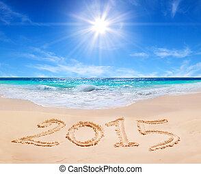"""parola, """"2015"""", su, il, spiaggia tropicale"""