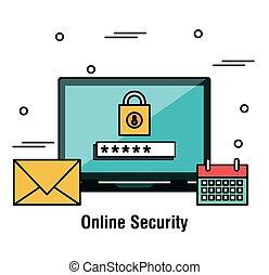 parola accesso, laptop, grafico, sicurezza, linea