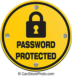parola accesso, protetto, -, cerchio, segni