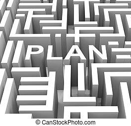 parola, affari, guida, pianificazione, piano, o, mostra