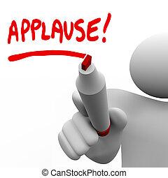 parola, applauso, apprezzamento, scritto, pennarello, uomo