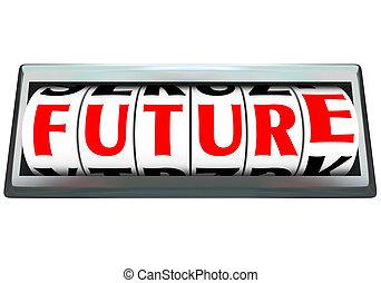 parola, avanti, progressione, contachilometri, futuro, tempo
