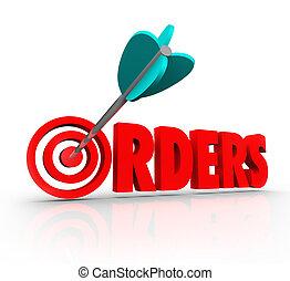 parola, bersaglio, vendite, acquisto, merce, freccia, ordini, negozio, 3d