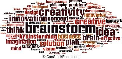 parola, brainstorm, nuvola
