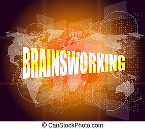 parola, brainsworking, su, schermo tocco, tecnologia, fondo