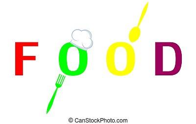 parola, cappello, cibo, forchetta, chef, cucchiaio