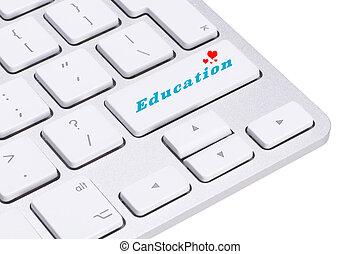 parola, concetto, bottone, selezionato, fuoco, educazione, computer, entrare, tastiera, educazione