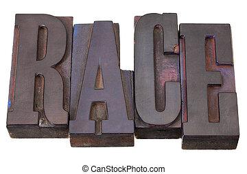 parola, corsa, tipo, letterpress