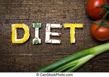 parola, costruisce, dieta, verdura, lettere, canapes