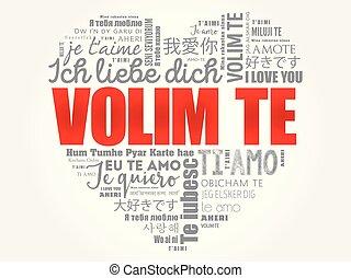 parola, croatian), volim, (i, amore, lei, te, nuvola
