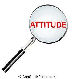 parola, di, atteggiamento, evidenziato, con, rosso, colorare, in, magnificatore, icona, o, ricerca, icona