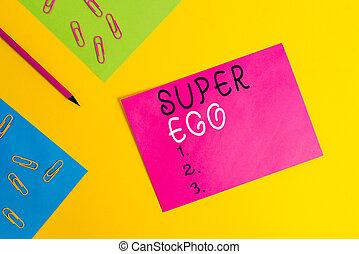 parola, dimostrare, carta comune, ego., o, matita, testo, concetto affari, raccoglitori, anima, scrittura, qualsiasi, suo, fondo., colorato, vuoto, delega di responsabilità, fogli, stesso, clip, messaggio, super, intero