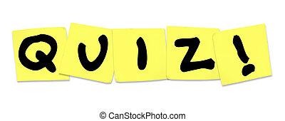 parola, esame, note, giallo, appiccicoso, prova, quiz