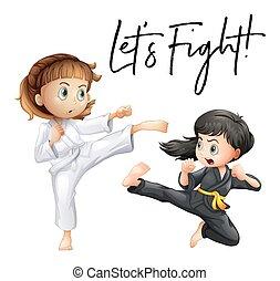 parola, espressione, per, lasciarli, lotta, con, due ragazze, combattimento