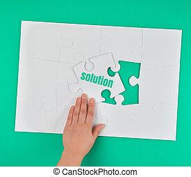 parola, femmina, puzzle, soluzione, titolo portafoglio mano, bianco